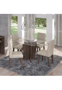 Conjunto Sala De Jantar Mesa Tampo Em Vidro Luana 4 Cadeiras Milena Siena Móveis Marrocos/Suede