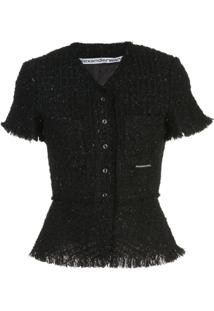 Alexander Wang Tweed Peplum Jacket - Preto