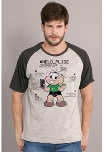 Camiseta Bandup! Raglan Turma Da Mônica Neld Plide - Feminino-Cinza+Preto
