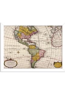 Quadro Decorativo Mapa Mundi America Do Norte E America Do Sul Branco - Médio