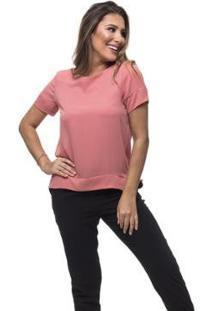 Blusa Clara Arruda Basic Feminino - Feminino-Rosa