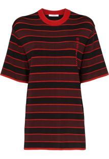 Givenchy Blusa Listrada Com Logo Bordado - Preto