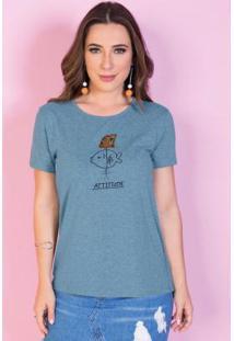 Blusa Azul Com Detalhe De Paetê Reverso