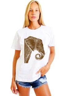 Camiseta Feminina Joss Elefante Marrom Branco