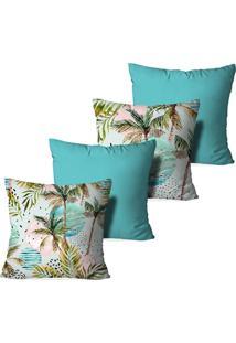Kit 4 Capas Love Decor Para Almofadas Decorativas Palm Trees Multicolorido Azul - Kanui