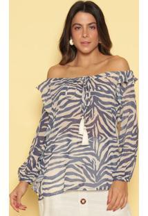 Blusa Ciganinha Animal - Azul Marinho & Beger. Do Sol
