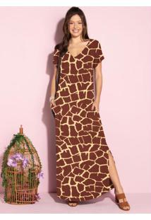 Vestido Longo Soltinho Com Fenda Animal Print