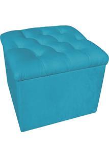 Puff Baú Capitonê Quadrado Suede Azul Tiffany - D'Rossi