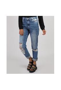 Calça Jeans Feminina Mom Cropped Cintura Alta Destroyed Azul Médio