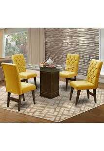 Mesa Para Sala De Jantar Saint Louis Com 4 Cadeiras – Dobuê Movelaria - Castanho / Canario