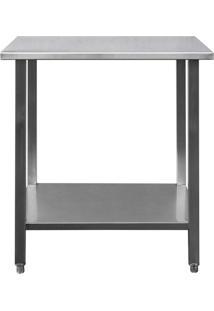 Mesa / Bancada De Apoio 100% Aço Inoxidável - 0,8M (80X70X90Cm) - Br-080S