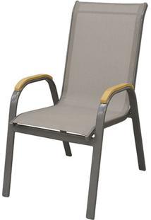 Cadeira Juquei Com Bracos Tela Bege Base Amendoa - 53832 - Sun House