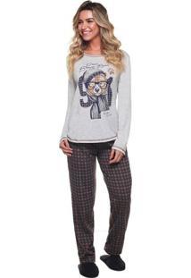 Pijama Longo De Inverno Ursinho Xadrez Feminino Luna Cuore