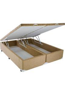 Cama Box Baú Chenille Caramel Com Pistão - Queen - 158 X 198