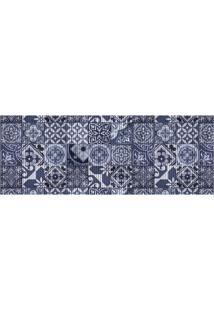 Tapete Para Cozinha Tropical Azulejo 43X130Cm Azul
