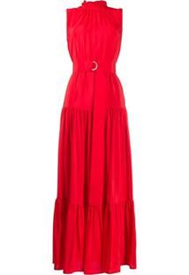 M Missoni Vestido Longo Godê Com Cinto - Vermelho