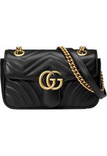 Gucci Bolsa Gg Marmont Matelassê Mini - Preto