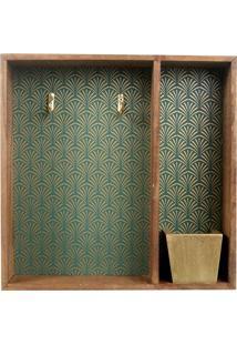 Porta Chave Estampado- Verde & Dourado- 28X28X6Cm
