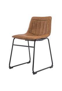 Cadeira Tamara Assento Courino Marrom Com Base Aco Preto - 47345 Preto