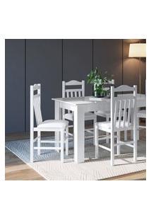 Conjunto Mesa Com 4 Cadeiras Brancas Lilies Móveis