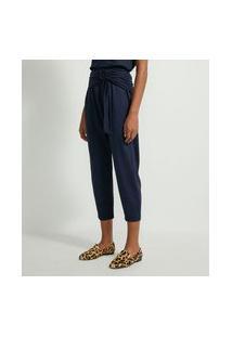 Calça Cenoura Em Viscose Com Detalhe De Argola Na Cintura | Marfinno | Azul | G
