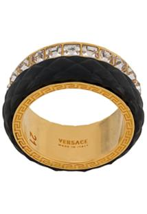 Versace Crystal Detail Ring - Dourado