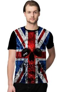 Camiseta Stompy Uk Flag Masculina - Masculino-Preto