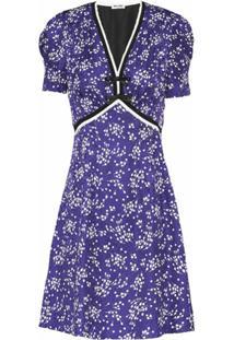 Miu Miu Vestido Com Estampa Floral E Aplicação De Laço - Azul