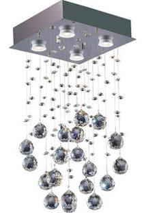 Lustre De Cristais Brihante Para 4 Lâmpadas Gu10 Transparente Bronzearte