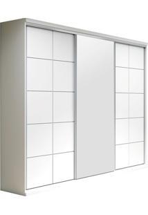 Armário 3 Portas De Correr, Espelho Central, Branco, Safira