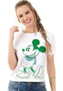 Blusa Com Aplicação De Pedras Branco Mickey