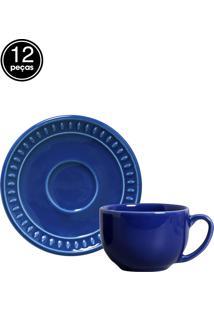Jogo De Xícaras De Chá 12 Pçs Sevilha Azul Navy Porto Brasil