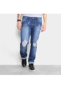 Calça Jeans Reta Triton Estonada Rasgos Puídos Masculina - Masculino-Azul