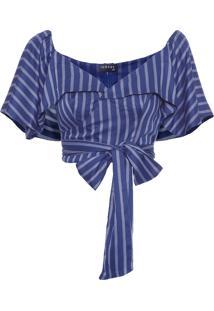 Blusa Feminina Cropped Listrada - Azul