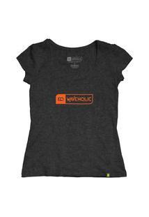 Blusa Sustentável Waveholic Preto Mescla (Grafite) Logo Laranja