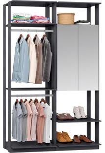 Guarda-Roupa Solteiro Modulado Clothes Com Espelho 2 Pt Espresso