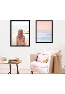 Kit 2 Quadros Com Moldura Sea Pink