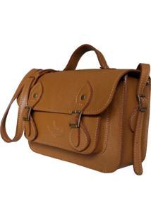 Bolsa Line Store Leather Satchel Mini Couro Caramelo. - Kanui