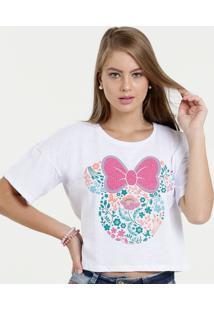 Blusa Feminina Cropped Estampa Minnie Manga Curta Disney