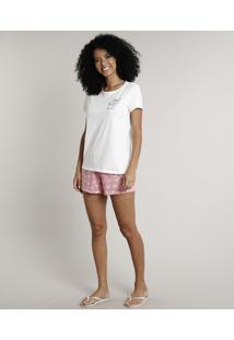 "Pijama Feminino ""Living Your Dreams"" Manga Curta Off White"