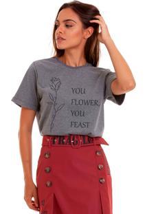 Camiseta Basica Joss You Flower Chumbo - Kanui