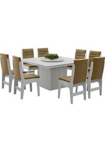 Conjunto De Mesa Para Sala De Jantar Com 8 Cadeiras - Amsterdam - Dobuê - Branco / Castor