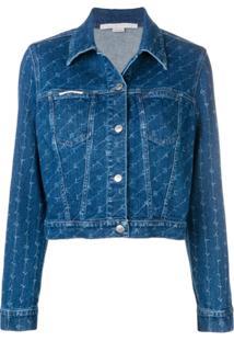 Stella Mccartney Jaqueta Bomber Jeans Monogramada - Azul