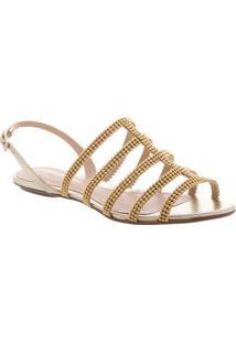 Sandália Rasteira Com Tiras - Dourada -Schutz