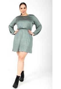 Vestido Almaria Plus Size Lady More Malha Lurex Feminino - Feminino-Verde