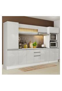 Cozinha Completa 100% Mdf Madesa Smart 300 Cm Modulada Com Armário, Balcáo E Tampo - Frentes Branco Brilho Branco