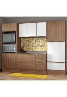 Cozinha Completa Multimóveis Com 7 Peças Calábria 5452R Nogueira/Branco