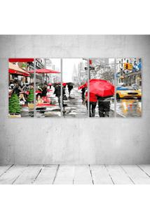 Quadro Decorativo - City Red Umbrella - Composto De 5 Quadros - Multicolorido - Dafiti