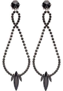 Miu Miu Earrings With Crystals - Preto