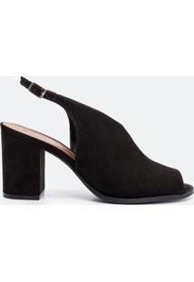 Sapato Feminino Recorte V Satinato